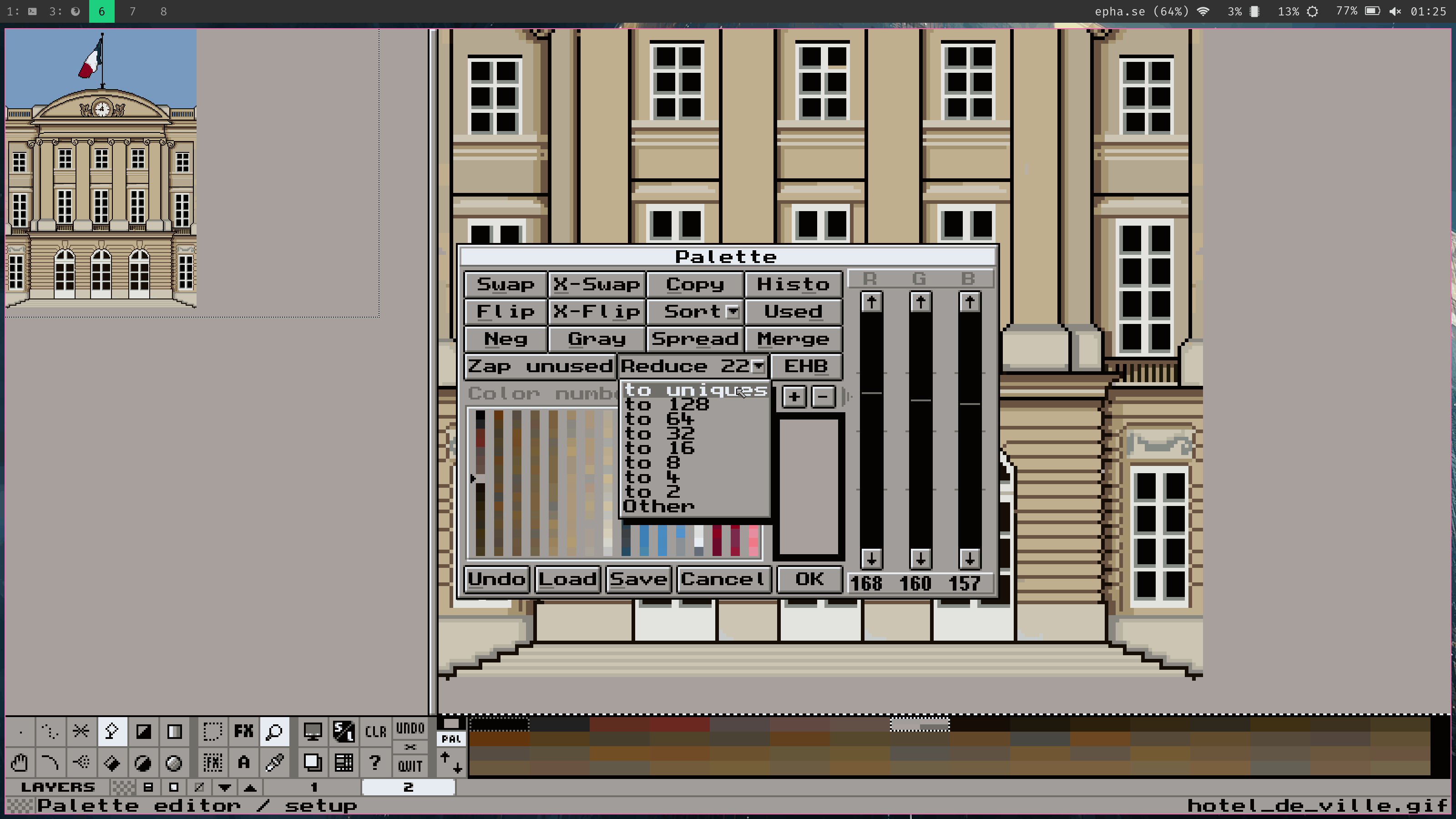Boite de dialogue palette dans Grafx2