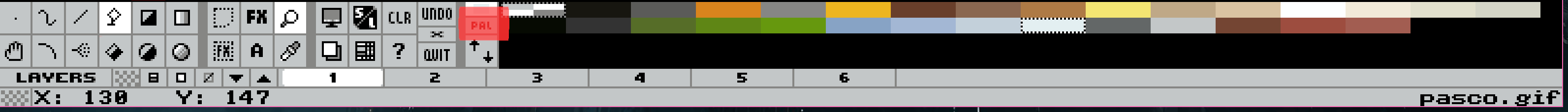 Le bouton PAL sur la barre d'outils de grafx